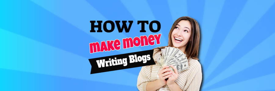 Delighted blogger holds money after learning How to make money writing blogs.