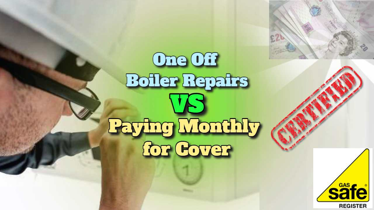 "Featured image text: ""One off boiler repairs vs paying monthly for a cover plan""."