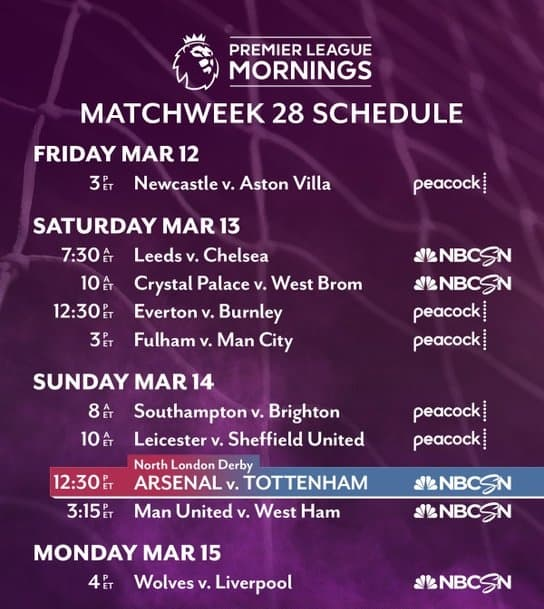 EPL commentator assignments on NBC Sports, gameweek 28